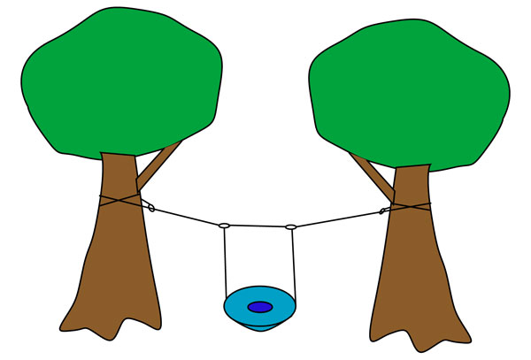 Saucer Swing hanging between two trees